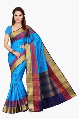 ISHIN Womens Poly Silk Self Patterned Saree