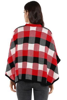 Womens Zip Through Neck Checked Sweater