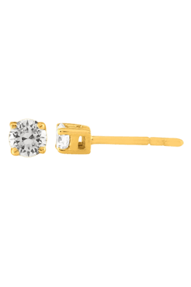 SPARKLES His & Her Collection 9 Kt Solitaires Earrings In Gold And Real Diamond 0.3 Cts HHT6313-9KT