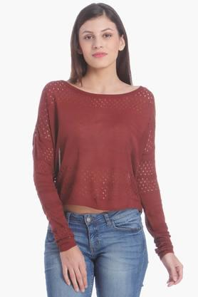 ONLY Womens Round Neck Perforated Solid Pullover
