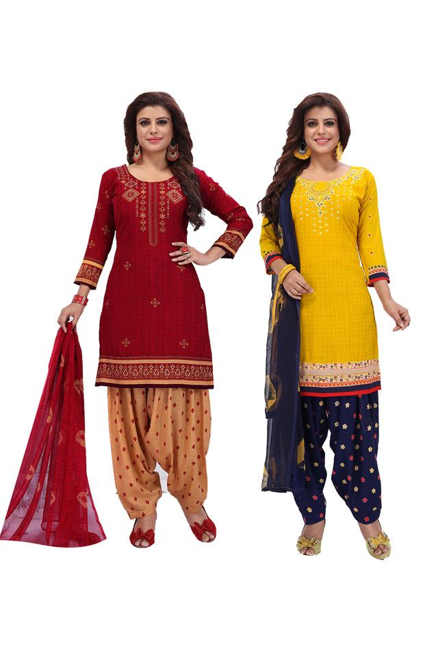 Womens Printed Salwar Suit Dress Material with Dupatta - Pack of 2