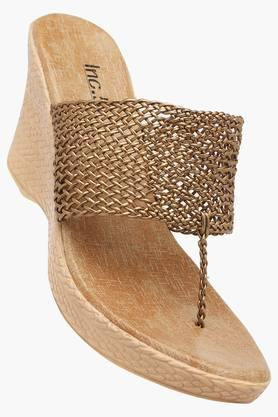 INC.5 Womens Bronze Toned Party Wear Wedge Sandal