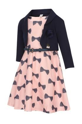 Girls Round Neck Printed Flared Dress with Jacket and Belt