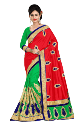 DEMARCA Women Georgette Saree (Buy Any Demarca Product & Get A Pair Of Matching Earrings Free) - 200875586