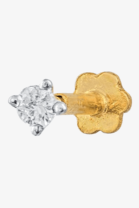 VELVETCASEWomens 14 Karat Yellow Gold Nose Pin (Free Diamond Pendant)