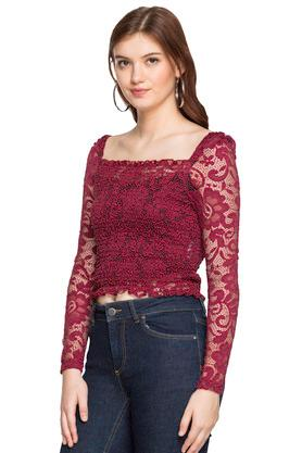 Womens Square Neck Lace Crop Top
