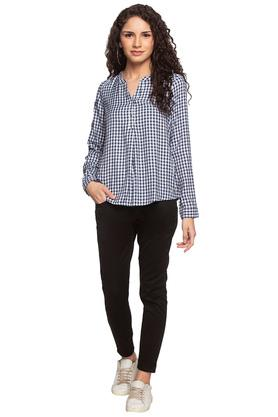 Womens Mandarin Collar Check Embroidered Top
