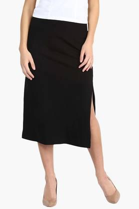 MISS CHASE Womens Solid Midi Skirt