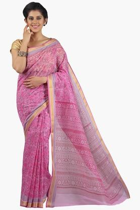 JASHN Women Super Net Printed Saree  ... - 201658304