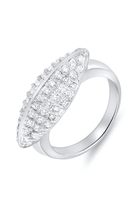 MAHI Mahi Rhodium Plated This Is Me Ring With CZ Stones For Women FR1100071R