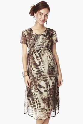NINE MATERNITY Womens Round Neck Printed Dress