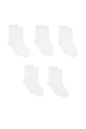 MOTHERCARE Boys Plain White Socks- Pack Of 5