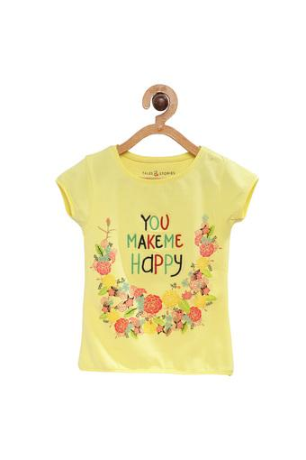 Girls Regular Fit Round Neck Floral Printed Top