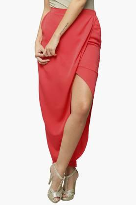 MISS CHASE Womens Solid Wrap Skirt
