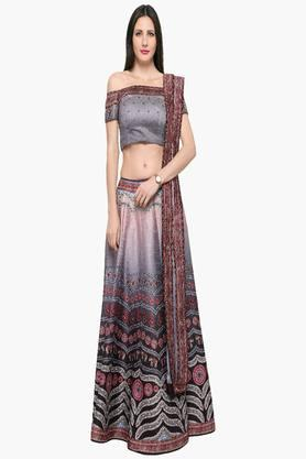 Womens Semi Stitched Off Shoulder Printed Lehenga Choli