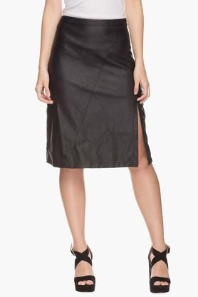 LIFE Womens Solid Slitted Skirt