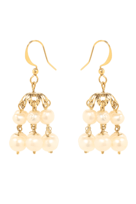 OVIYA Gold Plated Bright Party Pearls Jhumki Earrings For Women ER2106107G (Use Code FB20 To Get 20% Off On Purchase Of Rs.1800)