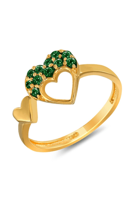 MAHI Mahi Valentine Love Gold Plated Green Heart Ring Made With Swarovski Elements For Women FR1104001GGre