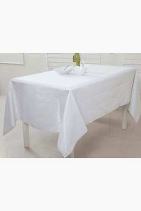 MASPAR Lurex Ticking Stripe White 4 Seater Table Cover