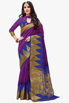 ASHIKA Womens Colour Block Brasso Saree - 201754571