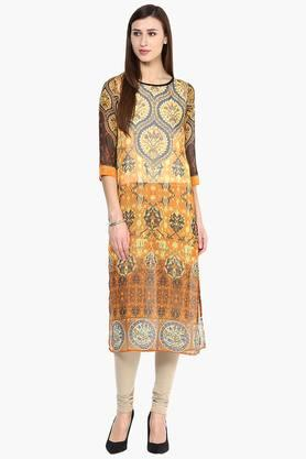 FUSION BEATS Womens Slim Fit Printed Kurta - 201603048