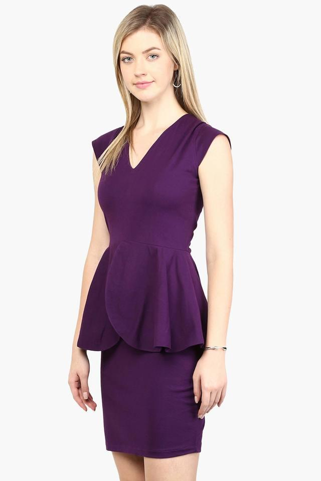 49b58cab1b Buy MISS CHASE Womens V-Neck Solid Peplum Dress | Shoppers Stop