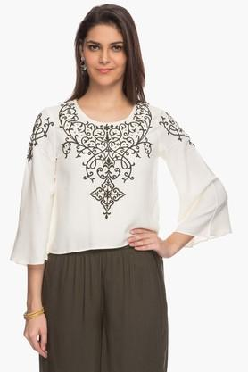 HAUTE CURRY Womens Printed Top And Palazzo Set