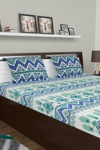 Printed Double King Bed Sheet with 2 Pillow Covers