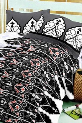 BLISS Black Black Cotton Double Bedsheet Set (Bedsheet Set (King)