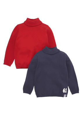 MOTHERCARE Boys Cotton Rich Turtleneck Sweaters - Pack Of 2