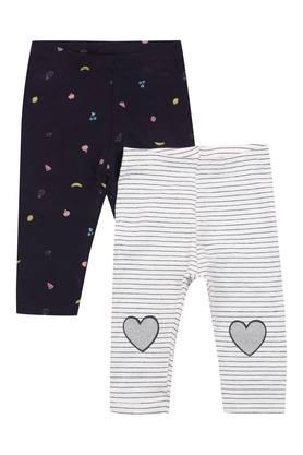 Girls Striped and Printed Leggings - Pack of 2