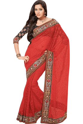 DEMARCA Womens Embroidered Saree (Buy Any Demarca Product & Get A Pair Of Matching Earrings Free) - 200946952