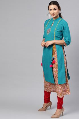 Womens Flared Fit Mandarin Collar Slub Embroidered Layered Kurta