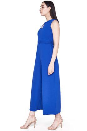 Womens Key Hole Neck Solid Jumpsuit