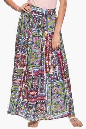 HAUTE CURRY Womens Printed Flared Long Skirt