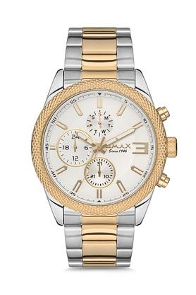 Mens Omax Masterpiece White Dial Stainless Steel Multi-Function Watch - FA9-GX38T3TI