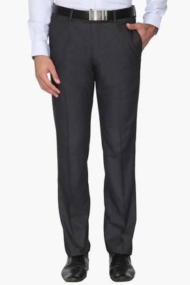 Mens Slim Fit 4 Pocket Solid Formal Trousers (Milano Fit)