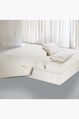 Oxford Solid Pure Cotton Single Bedsheet With 1 Pillow Cover 400 TC - 9896231