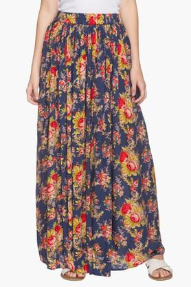 HAUTE CURRY Womens Printed Long Flared Skirt