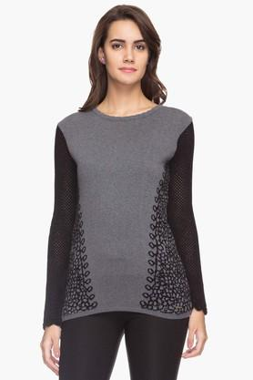 FEMINA FLAUNT Womens Embroidered Round Neck Sweater