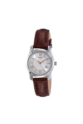 Womens Silver Dial Leather Analogue Watch - TWEL11507