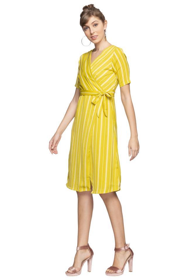 Womens Surplice Neck Striped Wrap Dress