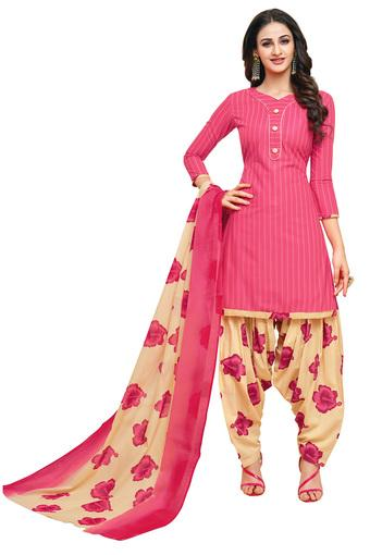 Womens Striped Salwar Suit Dress Material with Dupatta