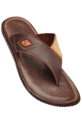 LEE COOPER Mens Brown Leather Slipon Sandal