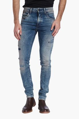 JACK AND JONES Mens 5 Pocket Stone Wash Distressed Jeans