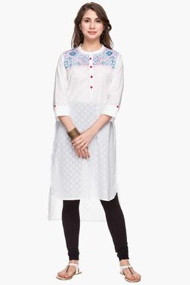 STOPWomens Mandarin Neck Embroidered High Low Kurta