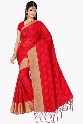 Women Poly Cotton All Over Buti With Zari Border Saree