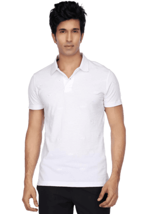 PUMA Mens Short Sleeves Slim Fit Polo Neck Solid T-Shirt