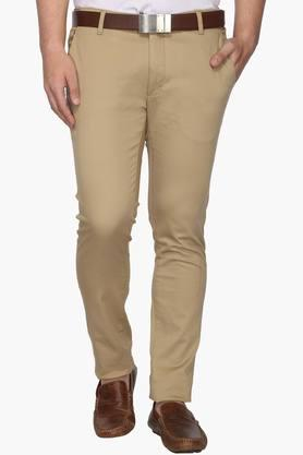 BLACKBERRYS Mens Slim Fit 4 Pocket Solid Trousers  ...