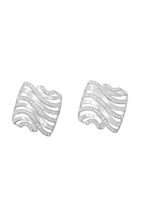 REAL EFFECT Embellished Wavy Stud Earrings